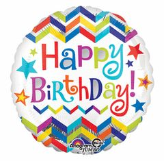 Happy Birthday Chevron & Stars Super Shape Balloon 28""