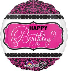 Pink, Black, & White Birthday 18""