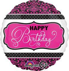 "Pink, Black, & White Birthday 18"""