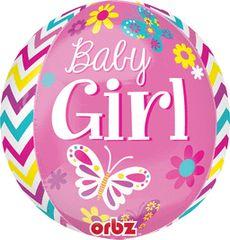 "Beautiful Baby Girl Mylar ORBZ Balloon16"""