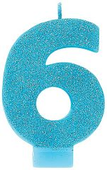 #6 Glitter Caribbean Blue Number 6 Birthday Candle