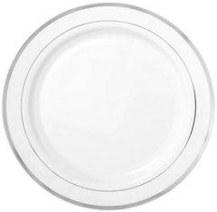 "White Silver Trimmed Premium Plastic Buffet Plates, 12"" - 10ct"