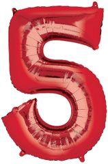 "34"" Red #5 Mylar Balloon"