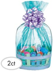 Caribbean Blue Plastic Gift Basket Bags, 2ct