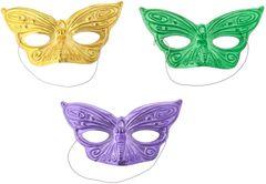 Mardi Gras Foil Butterfly Assorted Masks