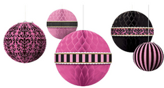 Day in Paris Pink & Black Honeycomb Balls & Paper Lanterns, 5ct