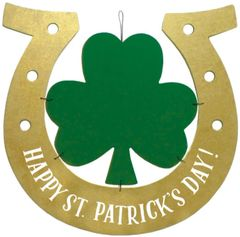 Happy St. Patrick's Day Horseshoe Hanging Sign