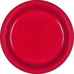 "Apple Red Plastic Plates, 10 1/4"""
