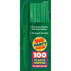 Big Party Pack Festive Green Plastic Knives, 100ct