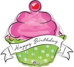 "Happy Birthday Sweet Cupcake Super Shape Balloon 29"""