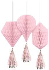 Metallic Rose Gold & Pink Honeycomb Decorations with Tails, 3ct