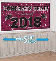 """2018"" Berry Grad 2018 Horizontal Banner"