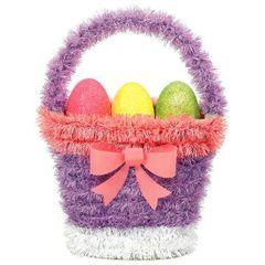 3D Tinsel Easter Basket Decoration
