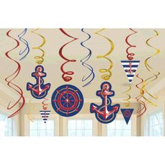 Anchors Aweigh Value Pack Foil Swirl Decorations