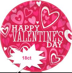 Valentine Party Plates, 18ct