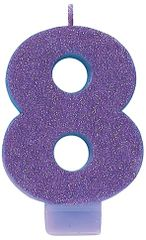 #8 Glitter Purple Number 8 Birthday Candle