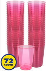 Big Party Pack Bright Pink Plastic Cups, 10oz - 72ct