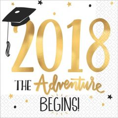 """2018"" The Adventure Begins Hot Stamped Luncheon Napkins"