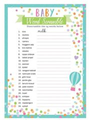 Baby Shower Word Game, 24ct
