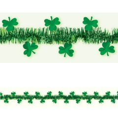 Green Tinsel w/Foil Shamrocks Garland, 15ft