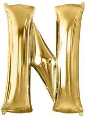 """Gold Letter N - 34"""" Mylar Balloon"""