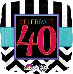"Celebrate 40th Birthday Balloon 17"""