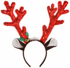 Red Sequin Antler Headband