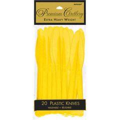 Yellow Sunshine Premium Heavy Weight Plastic Knives 20ct