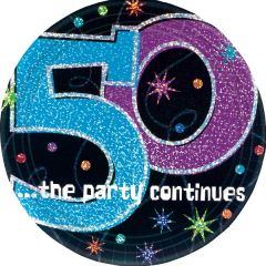 """The Party Continues 50th Birthday Plates, 9"""""""