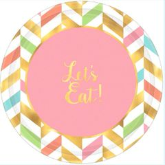 Eat, Drink & Be Happy! Metallic Round Plates, 7""