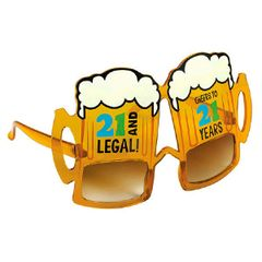 21st Brilliant Birthday Novelty Glasses - Boy