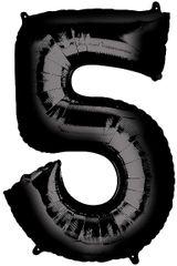 "34"" Black #5 Mylar Balloon"