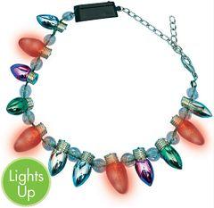 Christmas Light Bulb & Light-Up Bracelet W/Plastic Charms