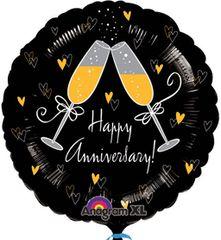 "Happy Anniversary w/Champagne Glasses Balloon 18"""