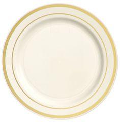 """Cream Premium Plastic Round Plates with Gold Trim, 7 1/2"""" - 20ct"""