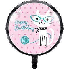 """Purr-fect Party 18"""" Metallic Balloon"""