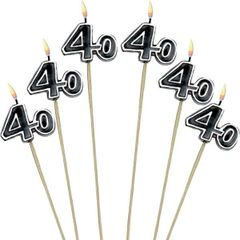Black Number 40 Birthday Toothpick Candles, 6ct