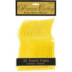 Yellow Sunshine Premium Heavy Weight Plastic Forks 20ct