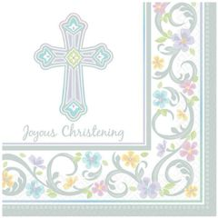 Blessed Day Christening Beverage Napkins. 36ct