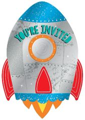 Blast Off Birthday Postcard Invitations, 8ct
