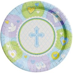 "Blue Sweet Religious Dessert Plates, 7"" - 8ct"