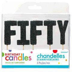 "50 ""F-I-F-T-Y"" Black Glitter Candles"