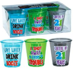 21st Brilliant Birthday Shot Glass Set