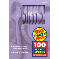 Big Party Pack Lavender Plastic Spoons, 100ct