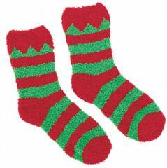 Elf Striped Fuzzy Crew Socks