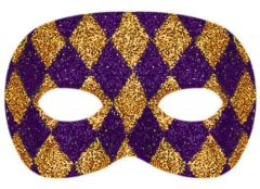 Glitter Purple and Gold Harlequin Masquerade Mask