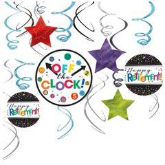 Happy Retirement Celebration Swirl Decorations, 12ct