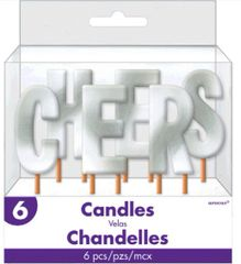 """Cheers"" Silver Pick Candles"