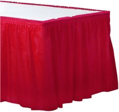 Apple Red Solid Color Plastic Table Skirt, 14' x 29""