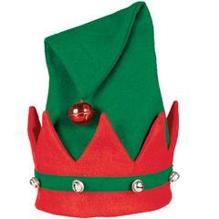 Deluxe Plush Elf Hat w/Bells